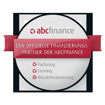 Rundes abcfinance-Partnerlogo mit Factoring und Leasing Aufschrift